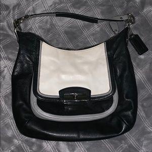 coach black and white small purse